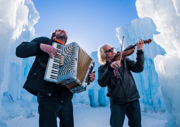 Musicians playing inside the Ice Castle