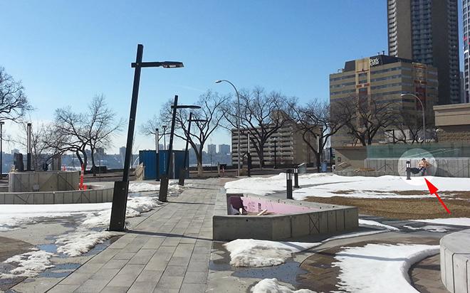 Winter Sunbathing at Telus Plaza