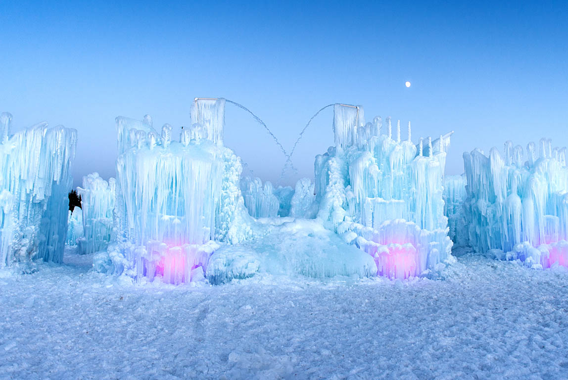 The Ice Castle lit up at night
