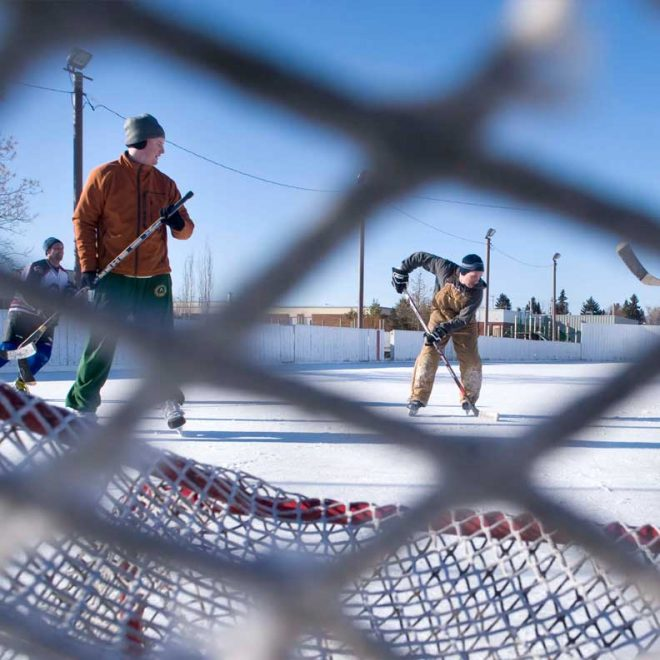 Picture of hockey players taken through the net