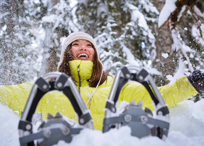 WinterCity Edmonton lady on showshoes